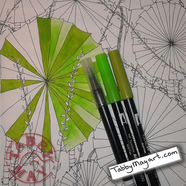 Doodled Blooms fan palm w.i.p.
