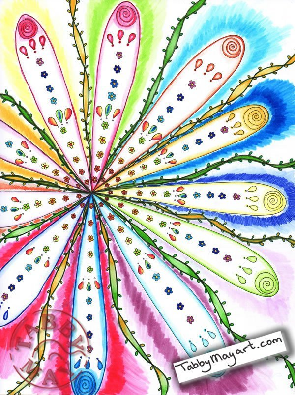 Doodled Blooms Tornado rainbow flower